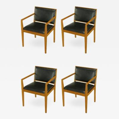 Bert England Four Interior Crafts Ash and Leather Armchairs