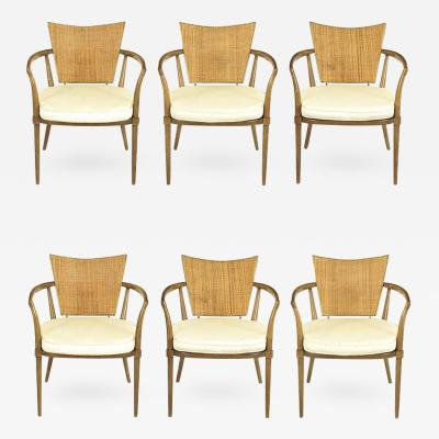 Bert England Set of Six Bert England Mahogany Brass and Cane Dining Chairs
