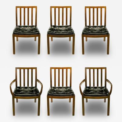 Bert England Six Bert England Forward Trend Walnut and Leather Dining Chairs