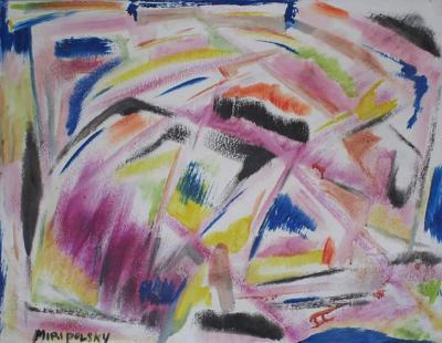 Bert Miripolsky Little Abstract Oil Painting on Board by Bert Miripolsky
