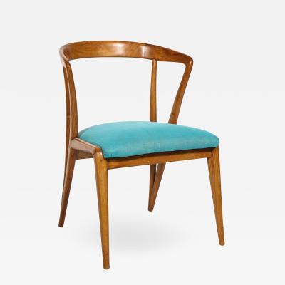 Bertha Schaefer Single Walnut Arm Chair by Bertha Schaefer for M Singer Sons