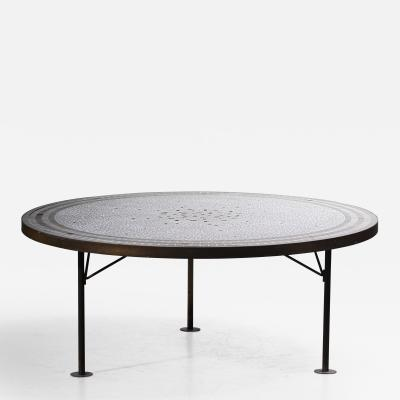 Berthold Muller Berthold Muller Round Mosaic Coffee Table Germany 1960s
