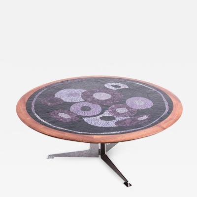 Berthold Muller Rare Huge 1960s Berthold Muller Mosaik Coffee Table with Stainless Steel Base