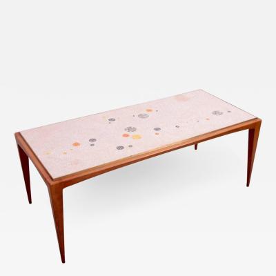 Berthold Muller Signed Berthold Muller Mosaic Coffee Table on Wood Base Germany 1958