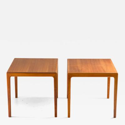 Bertil Fridhagen Pair of Swedish Mid Century Side Tables in Walnut by Bertil Fridhagen