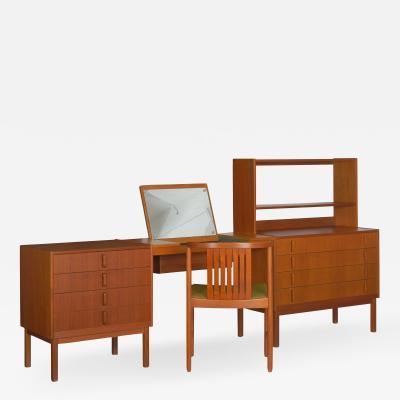 Bertil Fridhagen Swedish Modern Bedroom Dresser Set Desk by Bertil Fridhagen circa 1964