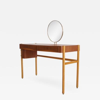 Bertil Fridhagen Teak Vanity Table with Round Mirror by Bertil Fridhagen