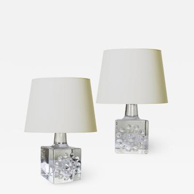 Bertil Vallien Pair of Mod Cast Glass Lamps by Bertil Vallien for Kosta