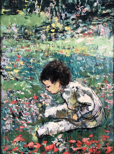 Bertoldo Taubert Modern Boy In The Landscape Smelling Flowers