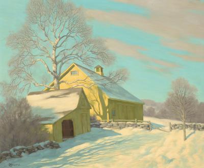 Bertram George Bruestle WINTER LANDSCAPE WITH A YELLOW HOUSE