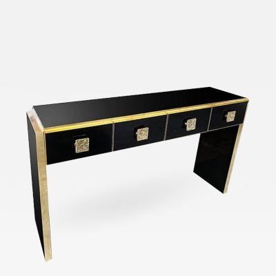 Bespoke Italian Art Deco Design Black Glass Cast Brass Console Table Sideboard