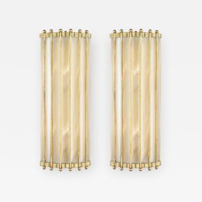 Bespoke Italian Art Deco Design Crystal Murano Glass Half Moon Brass Sconces