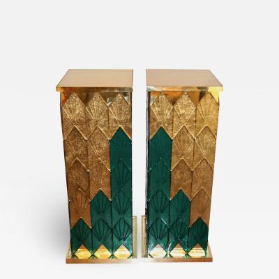 Bespoke Italian Art Deco Green Gold Murano Glass Brass and Wood Pedestals