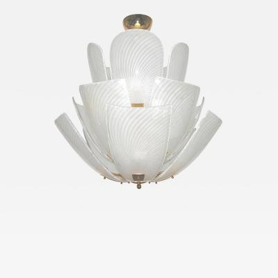 Bespoke Italian Art Nouveau Organic Design White Murano Glass Lotus Chandelier
