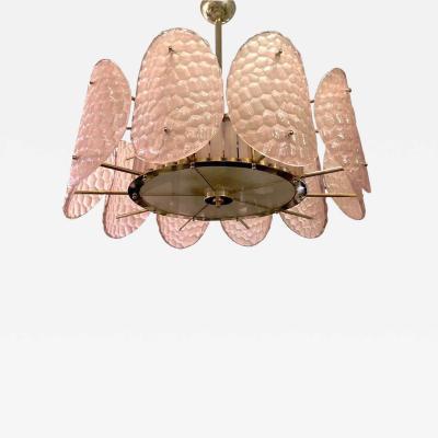 Bespoke Italian Crystal Rose Pink Murano Glass Brass Chandelier Flushmount