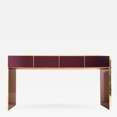 Bespoke Italian Design 4 Drawers Burgundy Brass Center Console Table Sideboard