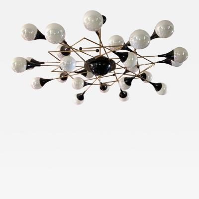 Bespoke Italian Geometric White Glass Black Lacquered Brass 24 Light Flushmount