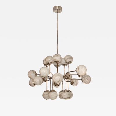 Bespoke Italian Modern 24 Light Alabaster Murano Glass Custom Nickel Chandelier