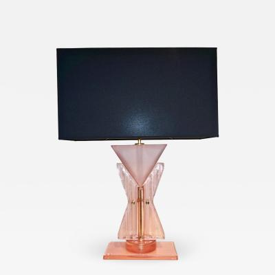 Bespoke Italian Post Modern Rose Pink Murano Glass Geometric Couture Table Lamp