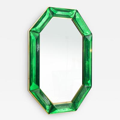 Bespoke Octagon Iridescent Emerald Green Murano Glass Mirror in Stock