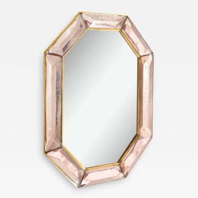 Bespoke Octagon Pink Murano Glass Mirror in Stock