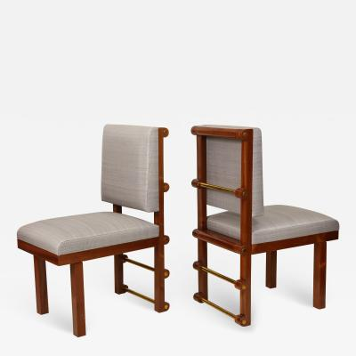 Bespoke Pair of Mahogany Library Chairs by Amir Khamneipur