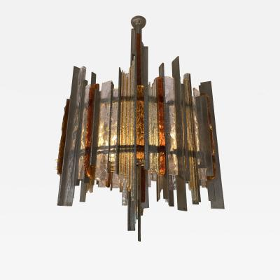Biancardi Jordan Chandelier Wrought Iron Hammered Glass by Biancardi Jordan Arte Italy 1970s