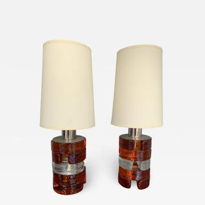 Biancardi Jordan Pair of Pressed Glass and metal Lamps by Biancardi Italy 1970s
