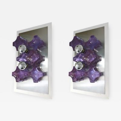 Biancardi Jordan Pair of Sconces Pressed Glass by Biancardi and Jordan Arte Italy 1970