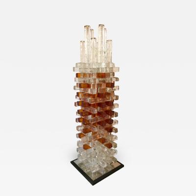 Biancardi Jordan Sculpture Lamp Pressed Glass by Biancardi and Jordan Arte Italy 1970s
