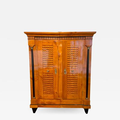 Biedermeier Armoire Cherry Veneer Plum Maple Inlays South Germany circa 1820