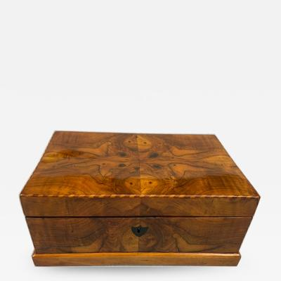 Biedermeier Box Walnut Veneer and Maple Austria circa 1820