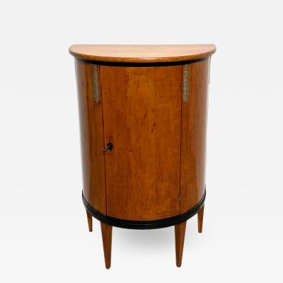 Biedermeier Demilune Half Cabinet Cherrywood and Brass France circa 1810