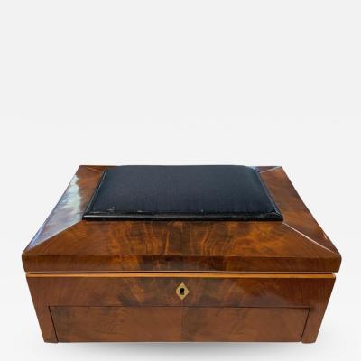 Biedermeier Sewing Box Mahogany Drawer Needle Cushion France circa 1820