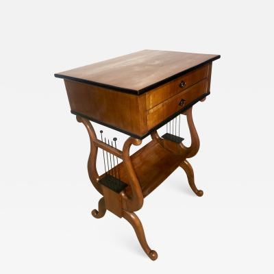 Biedermeier Sewing Table with Lyra Legs Cherry South Germany circa 1830