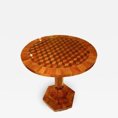 Biedermeier Side Table Cherrywood with 3D Inlays Germany circa 1825