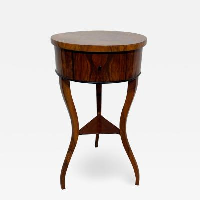Biedermeier Side or Sewing Table Walnut Veneer South Germany circa 1825