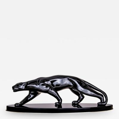 Big Art Deco Panther Black Lacquer France Paris circa 1940