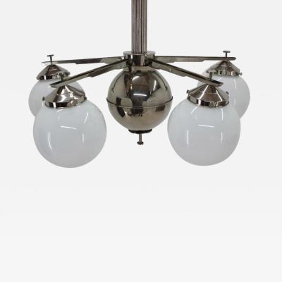 Big Beautiful Unique Chrome Bauhaus Chandelier 1930s