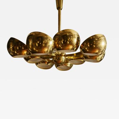 Big Brass Chandelier with Glass Lenses