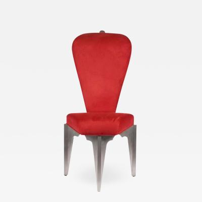 Bilhenry Walker Diamond Spine Chair in Aluminum and Fabric by Sculptor BilHenry Walker