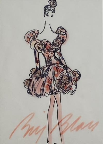 Bill Blass Fashion Sketch Cocktail Dress