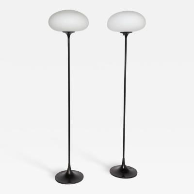 Bill Curry Pair of Bill Curry Mushroom Series Floor Lamp with White Glass Shades