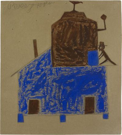 Bill Traylor Untitled Blue and Brown House with Chimneys