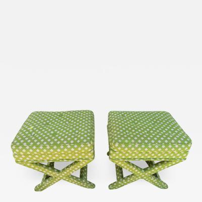 Billy Baldwin Lovely Pair of Midcentury X Base Ottoman Stools by Billy Baldwin