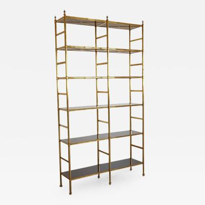 Billy Baldwin Original Billy Baldwin Tubular Brass Bookshelf with 12 Ebony Lacquered Shelves