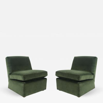 Billy Baldwin Pair of Billy Baldwin Chairs Reupholstered in Green Velvet