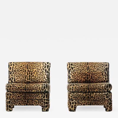 Billy Baldwin Pair of Billy Baldwin Regency Style Leopard Velvet Slipper Chairs c 1970s