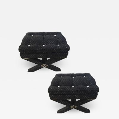 Billy Baldwin Pair of Billy Baldwin Style Polka Dot X Stools Steel Nailheads White Buttons