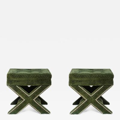 Billy Baldwin Pair of Billy Baldwin style X Ottomans